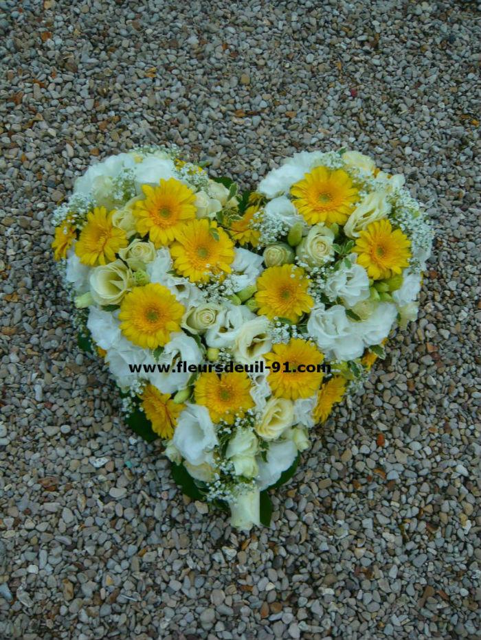 coeur deuil jaune et blanc