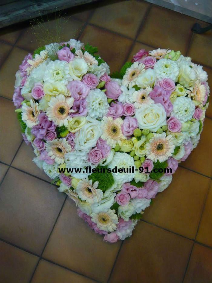 coeur deuil tons rose et blanc