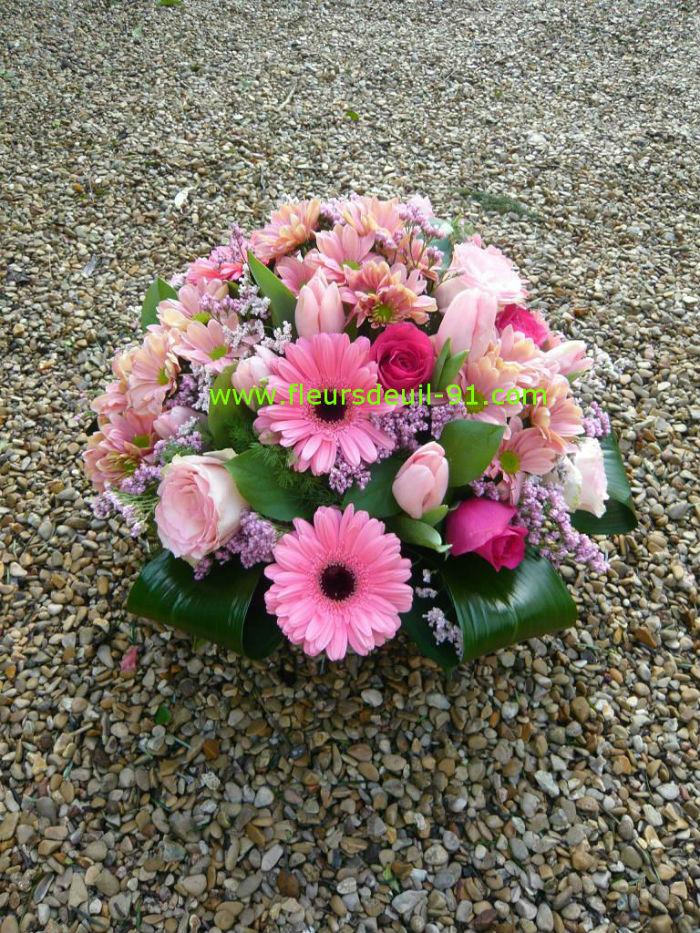 Coupe de fleurs deuil camaieu de rose
