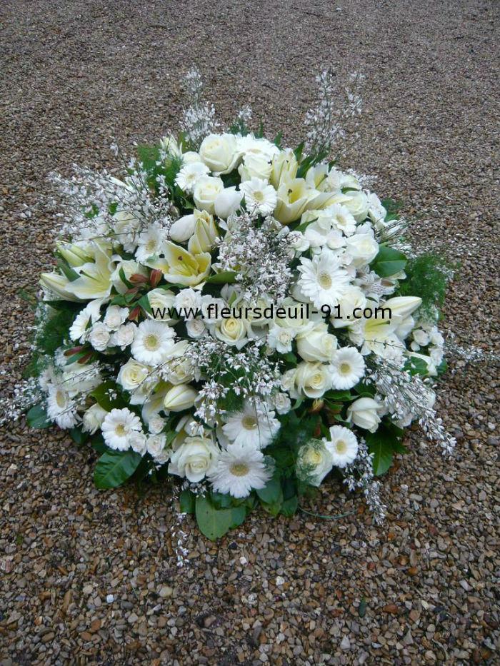 Coussin rond blanc fleuriste deuil Etampes 91 Nedellec-Rivière