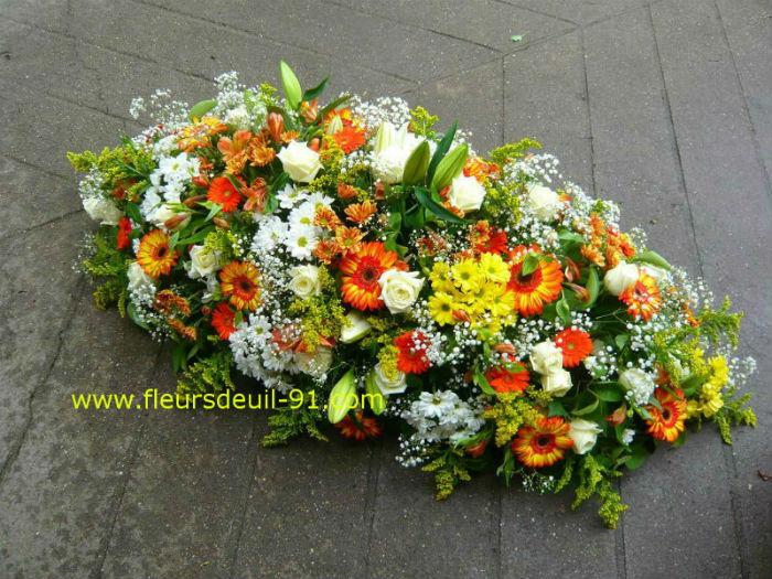 Dessus de cercueil orangé deuil