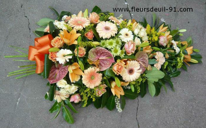 Gerbe de deuil orangé fleuriste Nedellec Etampes 91